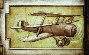 Below St George: one of the earliest known images of an aircraft on a stained glass window - a triplane