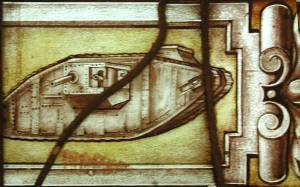 Below St George: one of the earliest known images of a World War One tank on a stained glass window